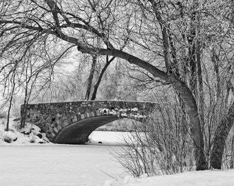Old Stone Bridge Over the Ice Skating Pond -- Black and White Photograph