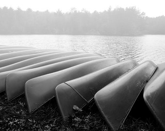 Canoes in Winter Storage - Black and White Landscape Photograph