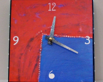 Abstract Clock, Red, Blue, Contemporary Clock, Functional Art, Office, Home Decor
