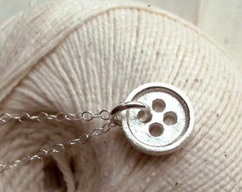 Button Necklace - Sterling Silver - Small - Sewing Inspired - Country - Gifts Under 35 -  Button Charm - Made In Brooklyn - Button Jewelry