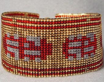 Journey Cuff, handmade beadwoven bracelet inspired by Journey