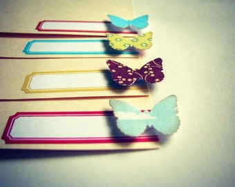 Journaling Embellished Tags with Labels and Butterflies Set of 4