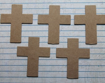 5 small chipboard Cross die cuts 1 3/4 inch x 2 1/8 inches