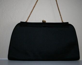 """Black Designer """"MM"""" I.Magnin & Co. Satin Evening Handbag"""