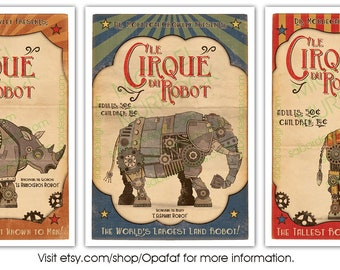 3 Pack - Retro Robot Circus Prints - Large - 11x14