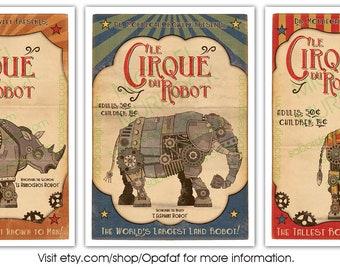 "3 Pack - Retro Robot Circus Prints - Large - 11.7""x16.5"" (A3)"
