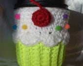 Cupcake coffee Cup Cozy Sleeve crochet Neon yellow for Hot or Cold solo beer Drinks tea cozy Cherry starbucks Ready To Ship