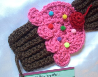 Cupcakes Scarf crochet knit scarf Chocolate Pink Frosting Sprinkles 3D Cherry. Super Soft Made To Order