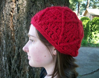 Bright red wool beanie with textured design