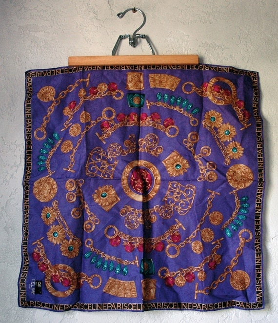 Vintage 90's CELINE Gem gold jewel illustrated print scarf