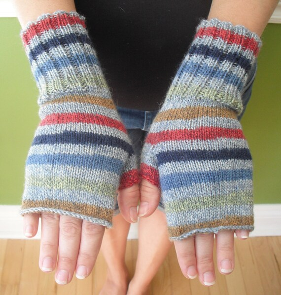 wool handknit fingerless gloves