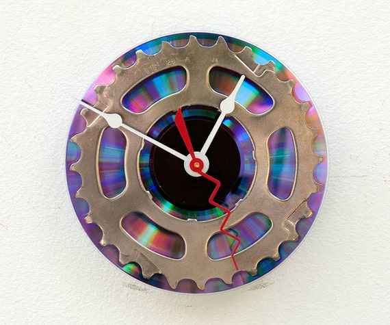 Clock made from a recycled Shimano Bike cassette gear