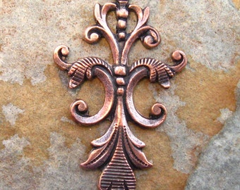1 Long 40mm Fleur Pendant - Connector Trinity Brass Co. Antique Copper
