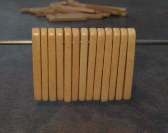 Mykonos Greek Ceramic Beads - 10 Bone Skinny Spike Beads