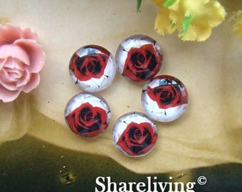 Time Limited Offer - 20% OFF - 10pcs 12mm Handmade Photo Glass Cabochon / Wooden Cabochon  (Rose) -- BCH137C