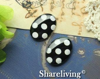 4pcs 18x25mm Handmade Photo Glass Cabs Cabochons ( Dots )   -- BCH811B