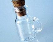 Mini Clear Glass Bottle Mug Charm with Cork
