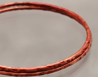 Handmade Red Copper Bangle Bracelet  - Squares Rouge - 8 inches Womens Jewelry