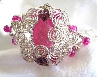 XL-Pink Druzy Gemstone Pink an Purple Bead Sterling Silver Wire Wrapped Bracelet