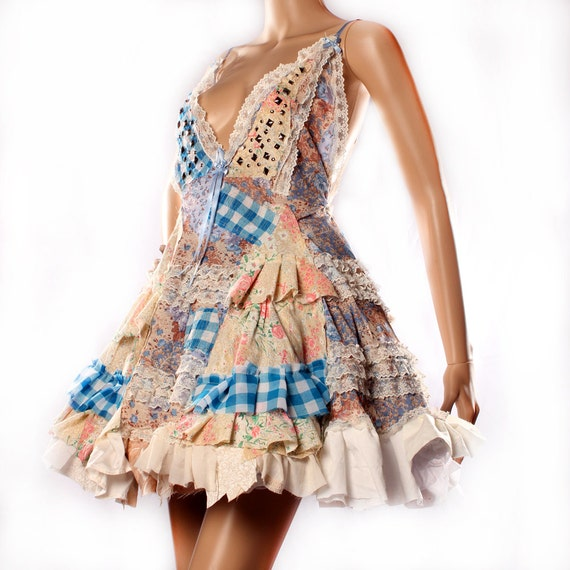 Wonderland Sundress in Patchwork Ruffles Spikes. Upcycle punk babydoll dress Cosplay Costume Gothic Lolita Showgirl Burlesque