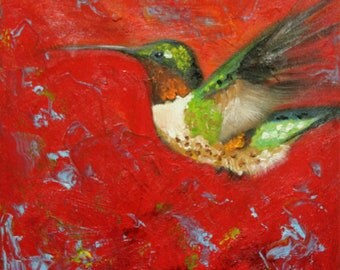 Bird 108 10x10 inch Print from oil painting by Roz