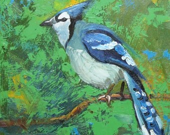 Blue jay 21 10x10 inch Print from oil painting by Roz