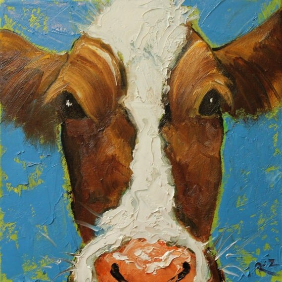 Cow painting 522 12x12 inch animal portrait original oil painting by Roz