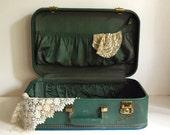 Vintage Luggage Starline Suitcase Small Teal Green Carry on by Baltimore Luggage