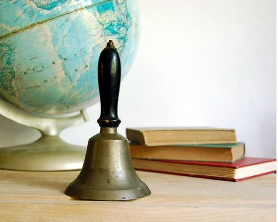 Vintage Brass School Bell Antique Black Wood Handle Brass Cast Bell