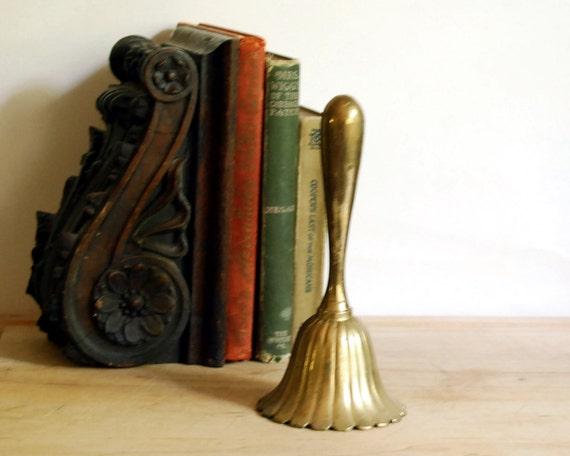 Vintage Brass Bell Lotus Flower Cast Metal Bell