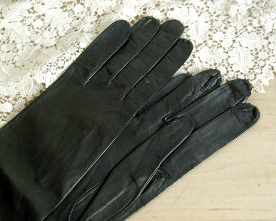 Vintage Long Gloves Black Kid Leather Grenoble France, Size 7, Stix Baer and Fuller