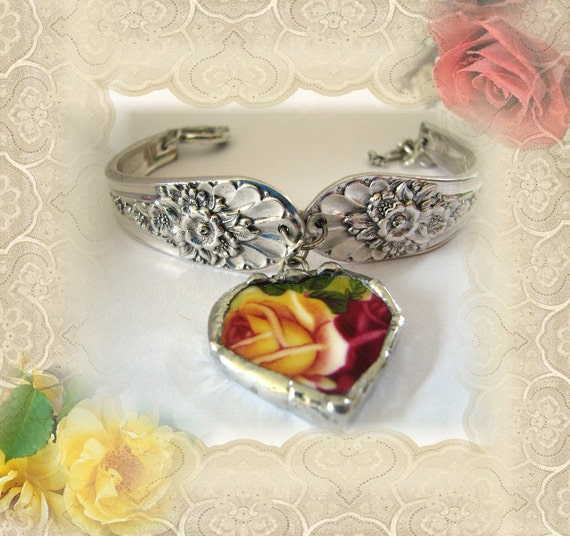 Vintage Spoon Bracelet - Vintage Spoon Jewelry - Broken China Bracelet - Broken China Jewelry
