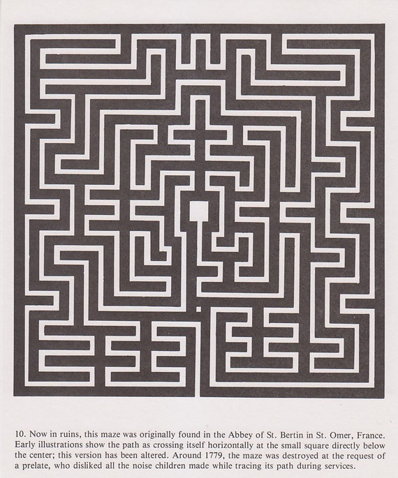 Vintage Maze Illustrated Print - Double Square Maze - France