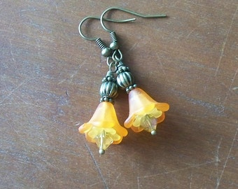 Flora -- Orange and Yellow Lucite and Glass Earrings