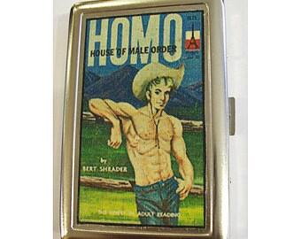 gay pulp wallet retro beefcake pin up vintage cigarette case ID tote kitsch