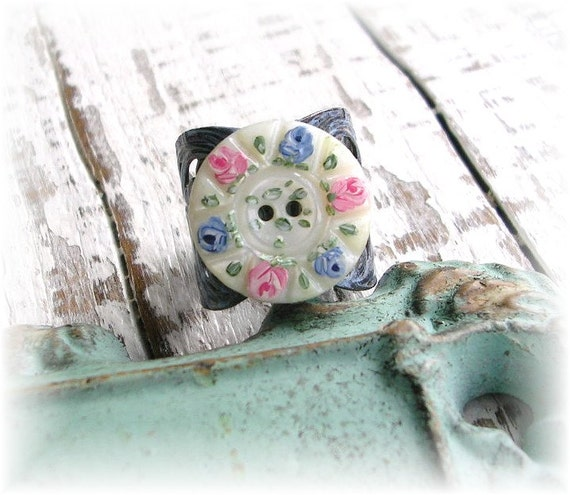 Vintage Mother of Pearl Button Ring Hand Painted Shabby Chic Blue Pink Roses Dark Patina Filigree