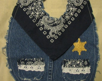 Girls Cute Sheriff Western Recycled Denim and Blue Bandana Cowboy Baby Bib