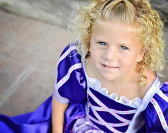 Cute Girls Purple  Princess Rapunzel Costume Gown NEW
