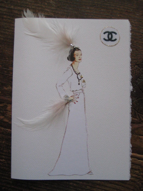 Coco Chanel in Classic white Dress fashion illustration 5x7 notecard
