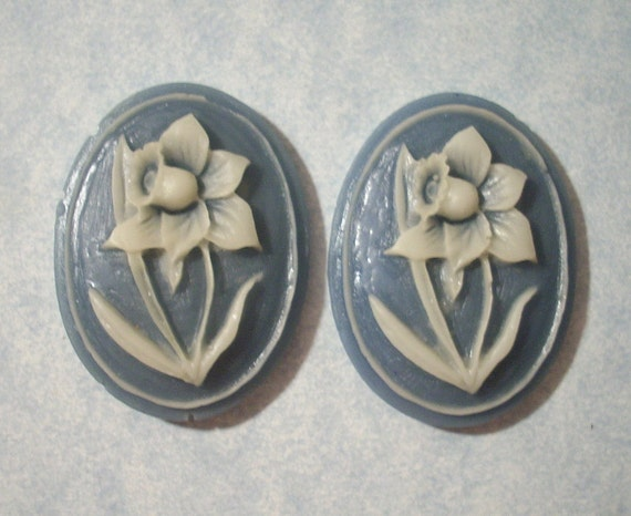 2 Floral Cabochons  40 x 30mm Cabochons