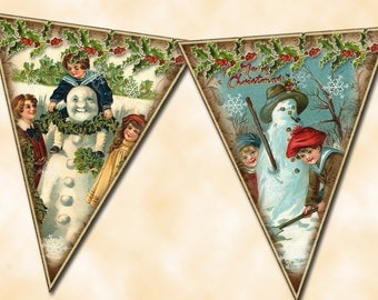 """Snowman Banner- 4""""x5"""" Vintage Graphics Pennants/Flags-Create Your Own Banner-Printable Collage sheet JPG Digital File -BuY One GeT ONe FREE"""