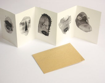 Mini concertina book zine || FIVE TERRIFYING MONSTERS