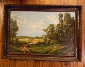 """Antique. Signed  . Oil Painting Landscape . 27"""" x 19"""" framed"""
