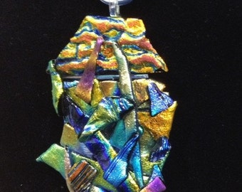 Multi Color Abstract Dichroic Pendant