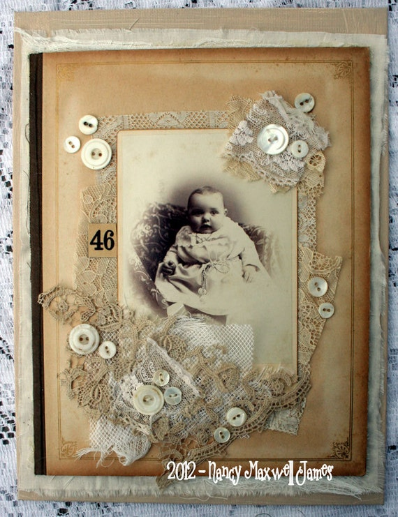 BeBe Anna Cabinet Card HANDMADE Altered Collage Canvas 9 x 12 inches