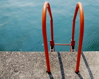 Ocean Photography, Landscape Photo, Nautical, Orange, Blue,  Beach Home Decor 5x5 inch Print -At The Lake