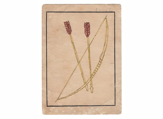 Vintage BOW & ARROW Sewing Embroidery Card