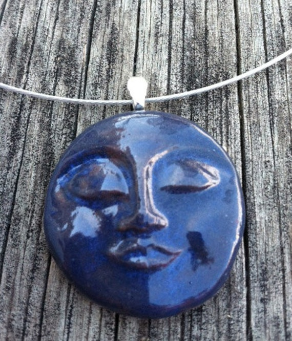 Man in the Moon Ceramic Pendant - Navy Blue