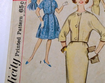 Vintage 1950s Sewing Pattern Simplicity 4698 Junior  Dress Jacket Bust 31 Inches Complete