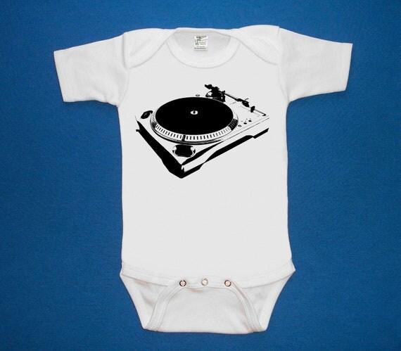 Turntable dj baby one piece bodysuit shirt creeper screenprint Choose Size